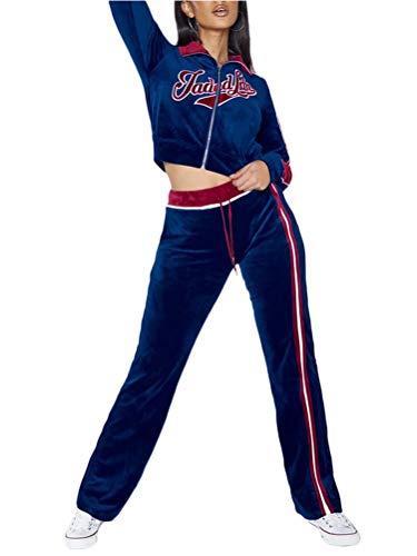 Onsoyours Damen Freizeitanzug Sportanzug Jogginganzug Sportjacke Jacke Mit Reißverschluss Sporthose Hose Mit Tunnelzug A Marine XS