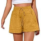 Shorts de Style européen et américain pour Femmes, Mode d'été, Short de Sport décontracté à Taille Haute avec Cordon de Serrage réglable Medium