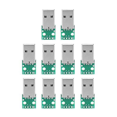 Tarjeta USB a DIP, Akozon 10Pcs Tipo USB Un enchufe macho a la tarjeta adaptadora DIP Adaptador de paso de 2,54 mm para 2 clavijas para DIY Fuente de alimentación USB/Diseño de tablero de prue