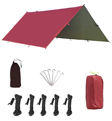 HIKEMAN Camping Tent Tarp Shelter 3m x 3.2m Lightweight Waterproof Windproof PU3000mm Anti UV with 6 Aluminium Stakes 5 Ropes and Carrying Bag for Snow Sunshade for Camping Outdoor (Wine red, 3x3.2m)