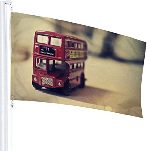 N/A Oud Engels Bus Speelgoed Vlag Premium Polyester Decoratie Vlag 5ft x 3ft