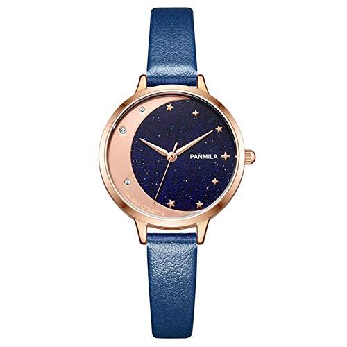 G&UWEI Reloj De Las Mujeres De La Dureza del Espejo De Cristal De La Vendimia Liquidación Mate De Cuero De Imitación Rombo Diamantes De Imitación De Cuarzo Reloj De Pulsera Suave,Azul