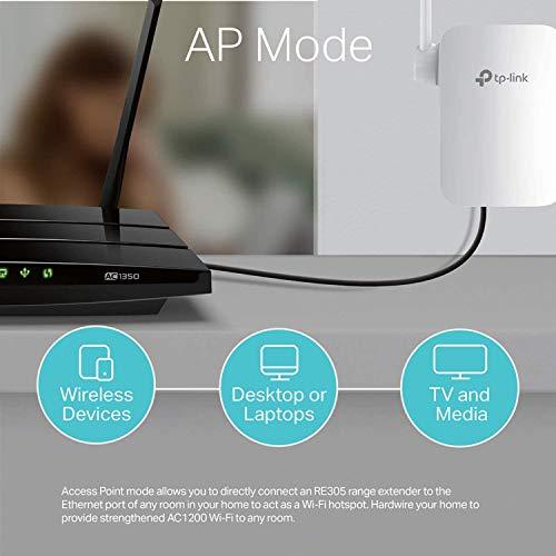TP-Link RE305 Extensor de Rango de Repetidor WiFi de Banda Dual Universal, Antenas Externas, Puerto Ethernet, AC1200, Modo AP Compatible