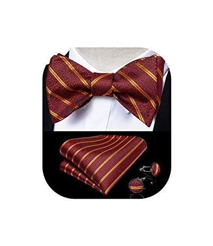 DiBanGu Mens Wine Red Paisley Fliege Self Tie mit Taschentuch Manschettenknöpfe Anzug Smoking Fliege