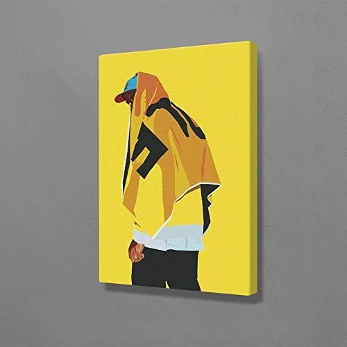 AMtxkj Rapero hiphop-Frameless-50x70cm,Cuadros de Retrato de Moda para Sala de Estar decoración del hogar Figura Abstracta Pelo Azul y Labios Rojos Lienzo Pintura