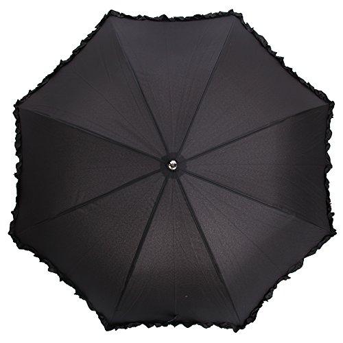 Universaltextilien Damen Regenschirm mit Rüschen (Einheitsgröße) (Schwarz)