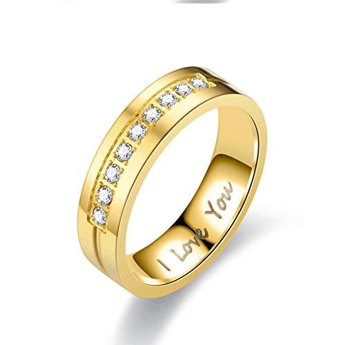 LINYIN Te Amo Pareja de Acero Titanio Anillos Europeos y estadounidenses Hombres y Mujeres Anillos de Diamantes de Acero Inoxidable 6号 Golden