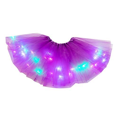 Kviklo Damen Mini Tutu LED-Licht Petticoat Elastische Taille Tanzender Rock Mädchen Chiffon Sommer Pailletten Unterrock(b Dunkelviolett,One Size)