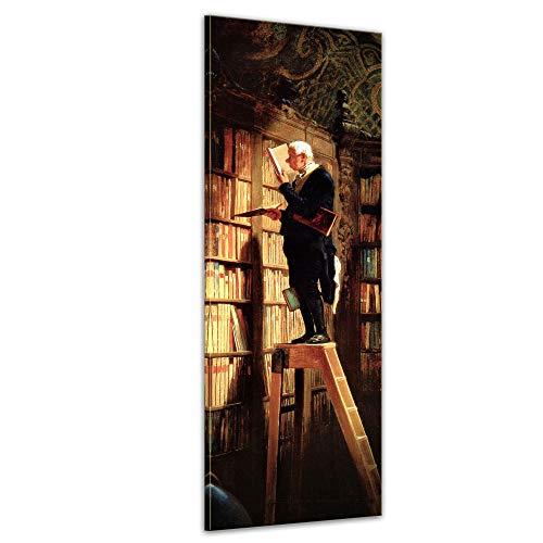 Keilrahmenbild Carl Spitzweg Der Bücherwurm - 40x120cm hochkant - Alte Meister Berühmte Gemälde Leinwandbild Kunstdruck Bild auf Leinwand