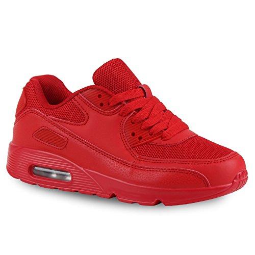 stiefelparadies Damen Sport Lack Sneakers Schnürer Sneaker Low Lauf Runners MetallicNeon Leder-Optik CamouflageGlitzer Schuhe 110747 Rot 38 Flandell