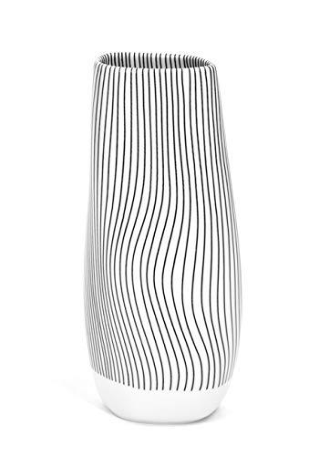 Meissen Vase Tide, Linien in schwarz, weißer Rand, H 19 cm
