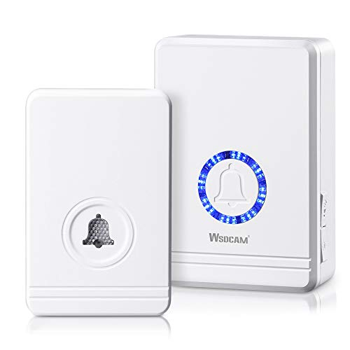 Wsdcam Wireless Doorbell for Home Classroom Office Business, 1300ft Long Range, Adjustable Volume 48 Chimes with LED Flash Plug in Door Chime Receiver & 10-Year Battery Life Waterproof Doorbell Button