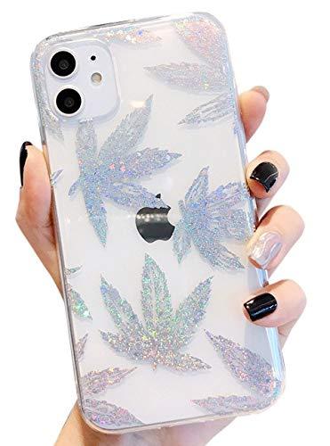 Blingy's Schutzhülle für iPhone 12 Pro (15,5 cm) (6,1 Zoll), glänzend, glitzernd, Blätter-Design, transparent, weich, TPU, kompatibel mit iPhone 12 Pro 15,5 cm (6,1 Zoll) 2020 Release (Silber Hanf)