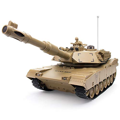 1:28 RC US MIA2 Army Battle Tank, Remote Control Military Vehicles with Rotating Turret and Sound, 9 Channels, Army Toys for Kids Boys, Best Age 6 7 8 9 10 11