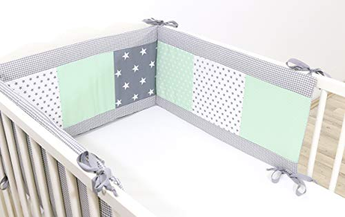 ULLENBOOM ® baby bedomrander l 210 x 30 cm l stootrand voor ledikantjes, hoofdbeschermer ledikant in de maat 140 x 70 cm I mint grijs