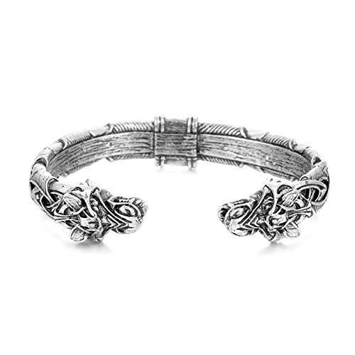 Juyuntong The Great Fenrir Handcrafted Bracelet - Norse Viking Metal Arm Ring, Handmade Viking Wolf Head Bracelet Bangle Fashion Jewelry Gifts (Silver)