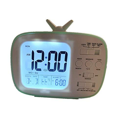 RUANRUAN Retro Minimalistischer Studentenwohnheim Nacht Stumm Elektronische Uhr Elektronische Retro-Tv-Wecker 120 * 45 * 103Mm