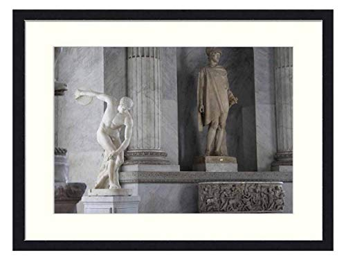 OiArt Wall Art Canvas Prints Wood Framed Paintings Artworks Pictures(20x14 inch) - Rome Vatican Chapel Statue Marble Italy Museum