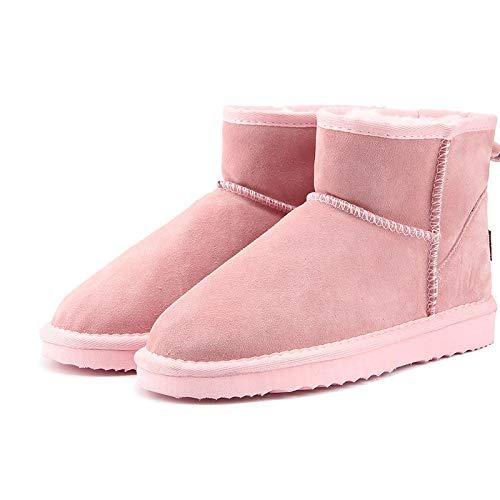 Hausschuhe Baumwollpantoffeln Damen Schneeschuhe Leder Stiefeletten Warme Winterstiefel Damenschuhe Größe 8 Lightpink