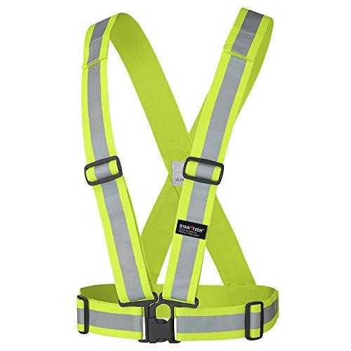 Pioneer Adjustable Tear-Away Lightweight Premium High Visibility Safety Vest Sash, Refelctive Stripe, Yellow-Green, V1040860-O/S