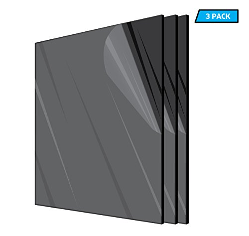 AdirOffice Acrylic Plexiglass Sheet 12''x12'' 1/8th Thick - Durable, Water Resistant & Weatherproof - Multipurpose & Ideal for Countless Uses – 3 Pack, Black