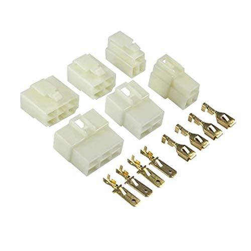 Guadang 10 SET 6.3mm Conector 1p / 2p / 3p / 4p / 6p / 9p PIN Eléctrico 6.3 Kits del conector Macho hembra de enchufe para motocicletas Coche (Color : 10sets 4P)