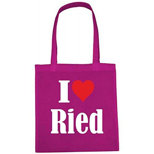 Tasche I Love Ried Größe 38x42 Farbe Pink Druck Weiss