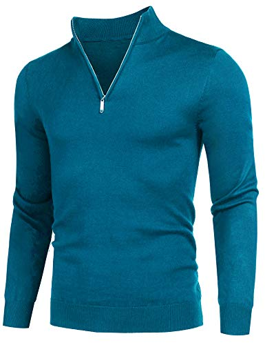 COOFANDY Men's Quarter Zip Sweaters Slim Fit Lightweight Cotton Mock Turtleneck Pullover Peacock Blue