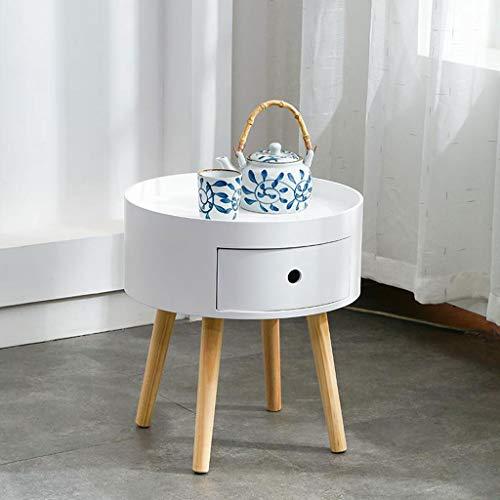 Einde tafel, Sofa bijzettafel, Bijzettafel Massief Hout Ronde Koffietafel Wit Kleine Slaapbank Tafel met Lade Einde Tafel voor Woonkamer Lounge