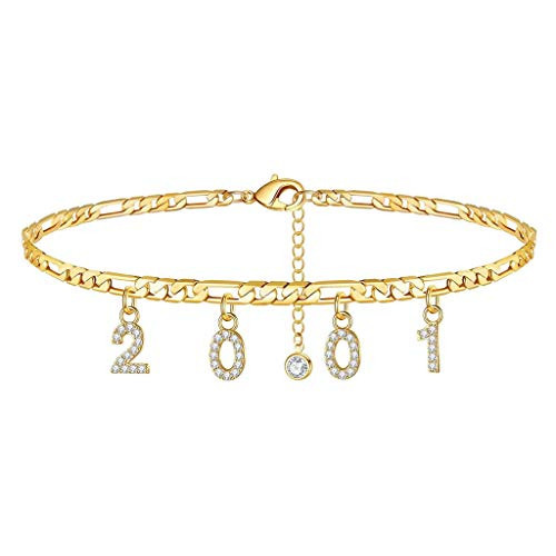 1996-2019 Birth Year Number Anklets Bracelets for Women Girls Personalized Birthday Gifts Christmas Gifts for Daughter Partner Girl Friends(Gold 2001)