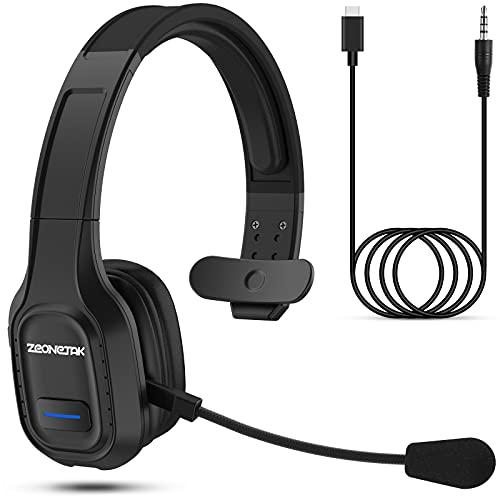 Bluetooth Headset mit Mikrofon, Esolom PC Headset mit 3.5mm Audio-Kabel, Rauschunterdrückung Quick Charge Kopfhörer 420mAh Wireless Freisprechen Headset für Call Center LKW Fahrer Skype Büro