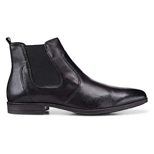 DRIEVHOLT Herren Chelsea-Boots aus Leder, Freizeit-Stiefel in Schwarz mit rutschhemmender Sohle Schwarz Glattleder 43