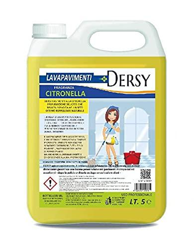 ELETTROCHIMICA DEL SELE Dersy Lavapavimenti Detergente Super Profumato alla Citronella lt 5 Professionale Repellente, allontana Mosche e zanzare