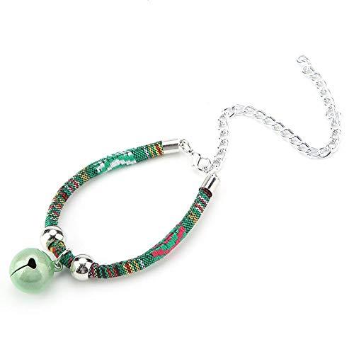 Tnfeeon Pet Cat Halskette mit Glocke, verstellbare Haustiere Halskette Zubehör Versorgung Komfortable Tierzubehör Zubehör(Grün)