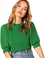 SheIn Women's Puff Sleeve Casual Solid Top Pullover Keyhole Back Blouse Green Medium