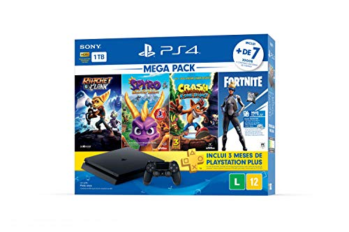 Console PlayStation 4 1TB Bundle Hits Family - Ratchet and Clank, Spyro Reignited Trilogy, Crash Bandicoot N'sane Trilogy - Playstation 4 (Versão Nacional)