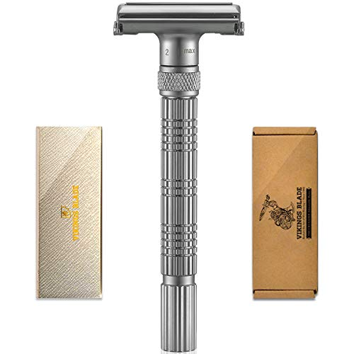 VIKINGS BLADE The Crusader Adjustable Safety Razor (Frosted Chrome)