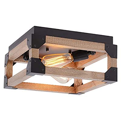 Eyassi Flush Mount Wood Ceiling Light, 2-Lights Farmhouse Close to Ceiling lamp Wood Industrial Lighting Fixtures for Living Room Kitchen Island Bedroom Hallway Entryway Closet Office Laundry