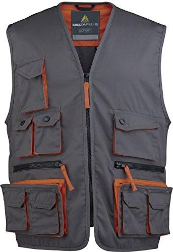Deltaplus M2GILGRPT Mach2 Arbeitsweste Aus Polyester Baumwolle, Grau-Orange, Größe S