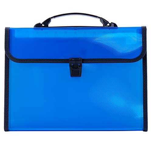 FANWU 13-Pocket Expanding File Folder with Handle - Letter A4 Paper Size Plastic File Wallet Briefcase Accordion folder Expandable Document Organizer with Flap & Buckle for School Home Business (Blue)