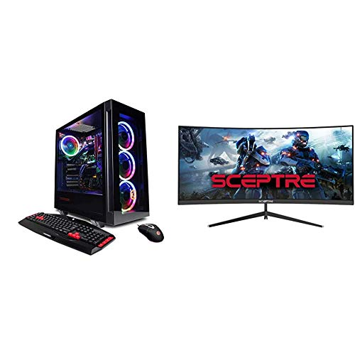 CyberpowerPC Gamer Supreme Liquid Cool Gaming PC (Black) & Sceptre 30-inch Curved Gaming Monitor 21:9 2560x1080 Ultra Wide Ultra Slim HDMI DisplayPort up to 200Hz Build-in Speakers, Metal Black