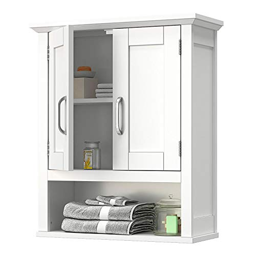 VIPEK Home Bathroom Wall Cabinet Wooden Medicine Cabinet Storage Organizer with 2 Door, Adjustable Shelf and Open Storage Cube Cottage Collection Wall Mount Over The Toilet White Wood Hanging Cabinet