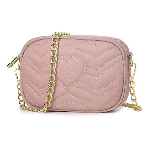 Wind Took Umhängetasche Damen Klein Sling Tasche Vintage Kette Bag Clutch Mini Citytasche für Hochzeit Party Disko, 11.5x17.5x5.5 cm Pink
