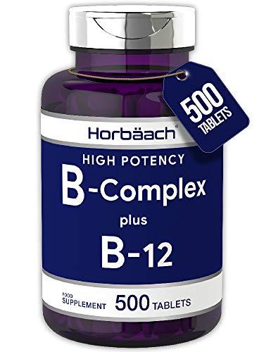 Vitamin B Complex + B12   500 Tablets   High Strength   with B1, B2, B3 & Papaya Enzyme   Vegan, Non-GMO   by Horbaach