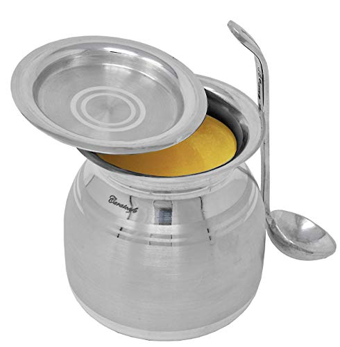 CaratCafe Pure Silver Bowl For Ghee Pot,Oil,Sugar Table Servings With Lid & Spoon, Health Safe Hallmark Certified NT WT 85-90 Grams
