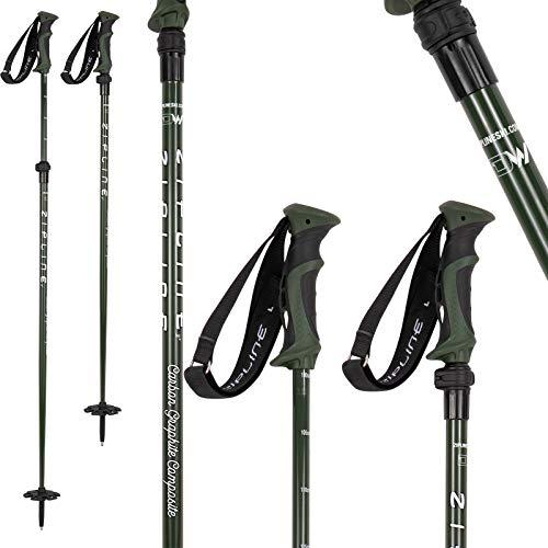 MRDW Collection - Zipline Blurr EXT - Adjustable Graphite Composite Ski Pole - U.S. Ski Team Official Supplier (Army Green, 100 cm - 130 cm)