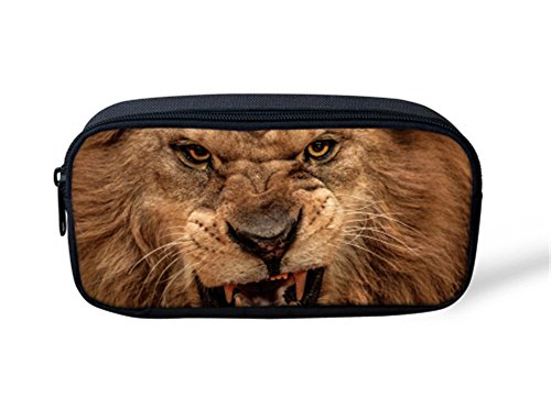 VJSDIUD Estuche de gran capacidad de almacenamiento 3D Vivid Lion Pen Bag de gran capacidad duradera para niños, escuela, viajes, bolsa compacta con cremallera