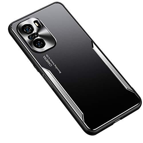 ESTH® Funda para Xiaomi Mi 11i, Armadura híbrida de Aluminio Metal a Prueba de Golpes Marco de Parachoques Carcasa de Silicona Suave, Plata