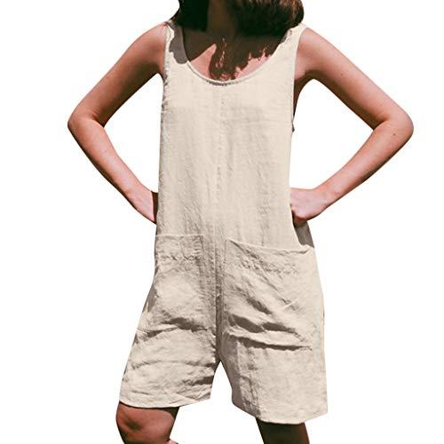 Briskorry Mono para mujer, sin mangas, ancho de pierna, corto, peto Romper Playsuit grande para mujer, mono de...