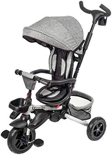 HyperMotion Dreirad für Kinder mit Steuergriff für Eltern, Sicherheitsgurten, bequemem Sattel, breite Rädern, Tobi Majestic Dreirad für Jungen und Mädchen, erstes Fahrrad, Grau